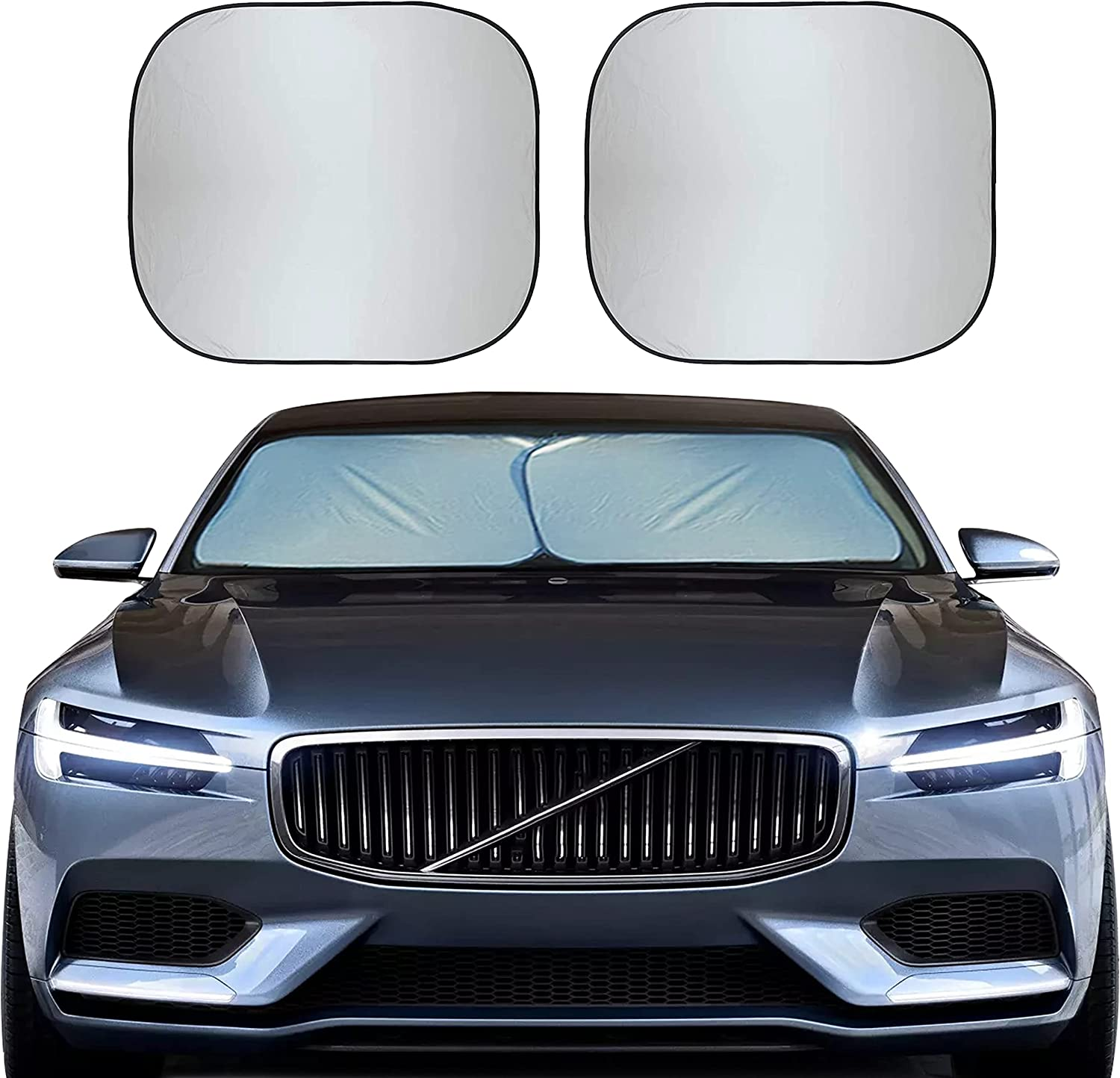 """EcoNour Foldable 2-Piece Sun Shade for Car Windshield   Total Sun Heat and UV Protection with Automotive Interior Sun Protection   Window Sunshade with Complete Interior Protection (Medium 28""""x31"""")"""