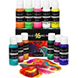 Magicfly 16 Colors Acrylic Pouring Paint(60ml/2oz Bottles), Pre-Mixed High Flow Liquid Acrylic Paint with 3 White Paints…