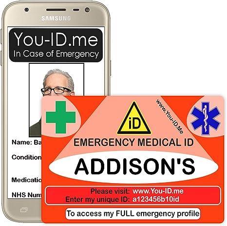 carte identité en urgence Addison's Alert Card Carte d'identification médicale personnalisée