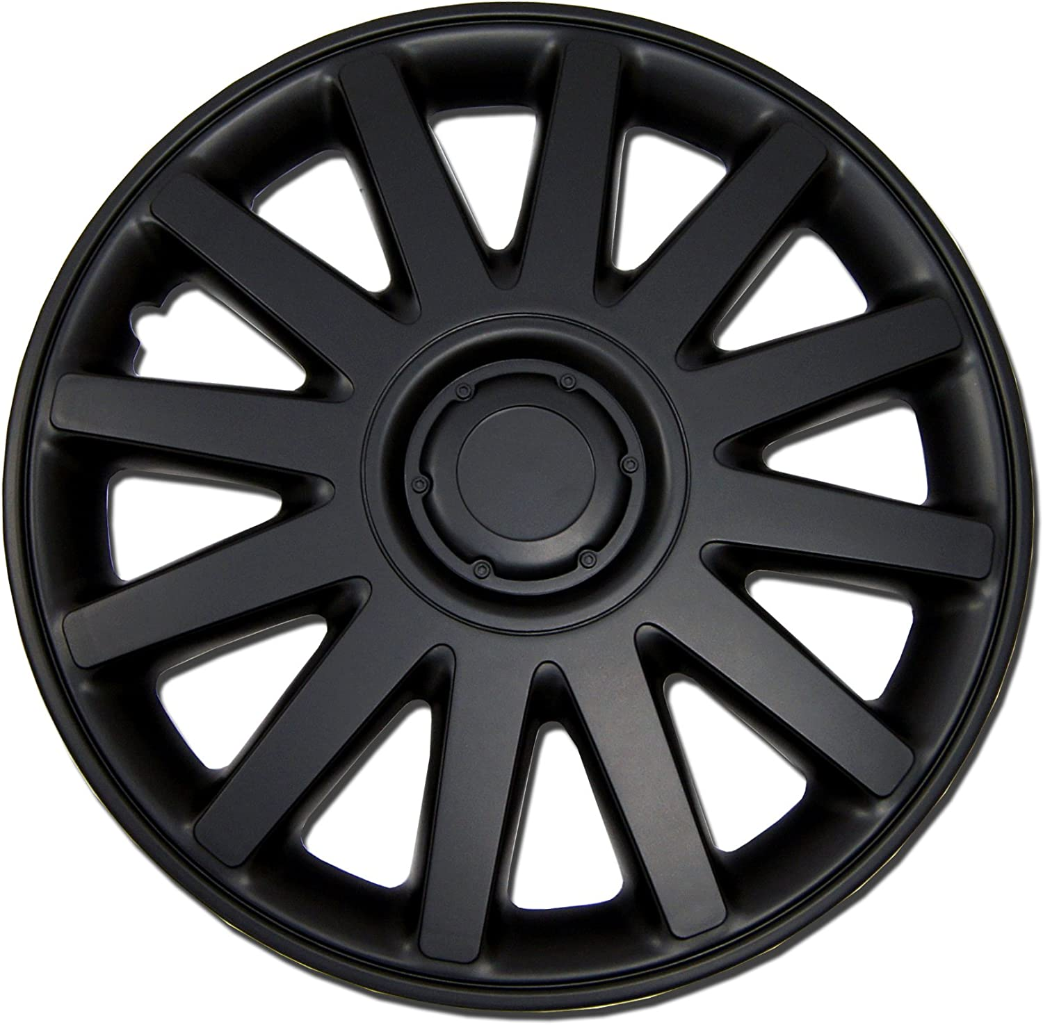 TuningPros WSC-610B15 Hubcaps Wheel Skin Cover 15-Inches Matte Black Set of 4