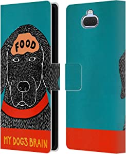 Official Stephen Huneck Dogs Brain Food Sally Humour Leather Book Wallet Case Cover Compatible for Sony Xperia XA3 Ultra / 10+