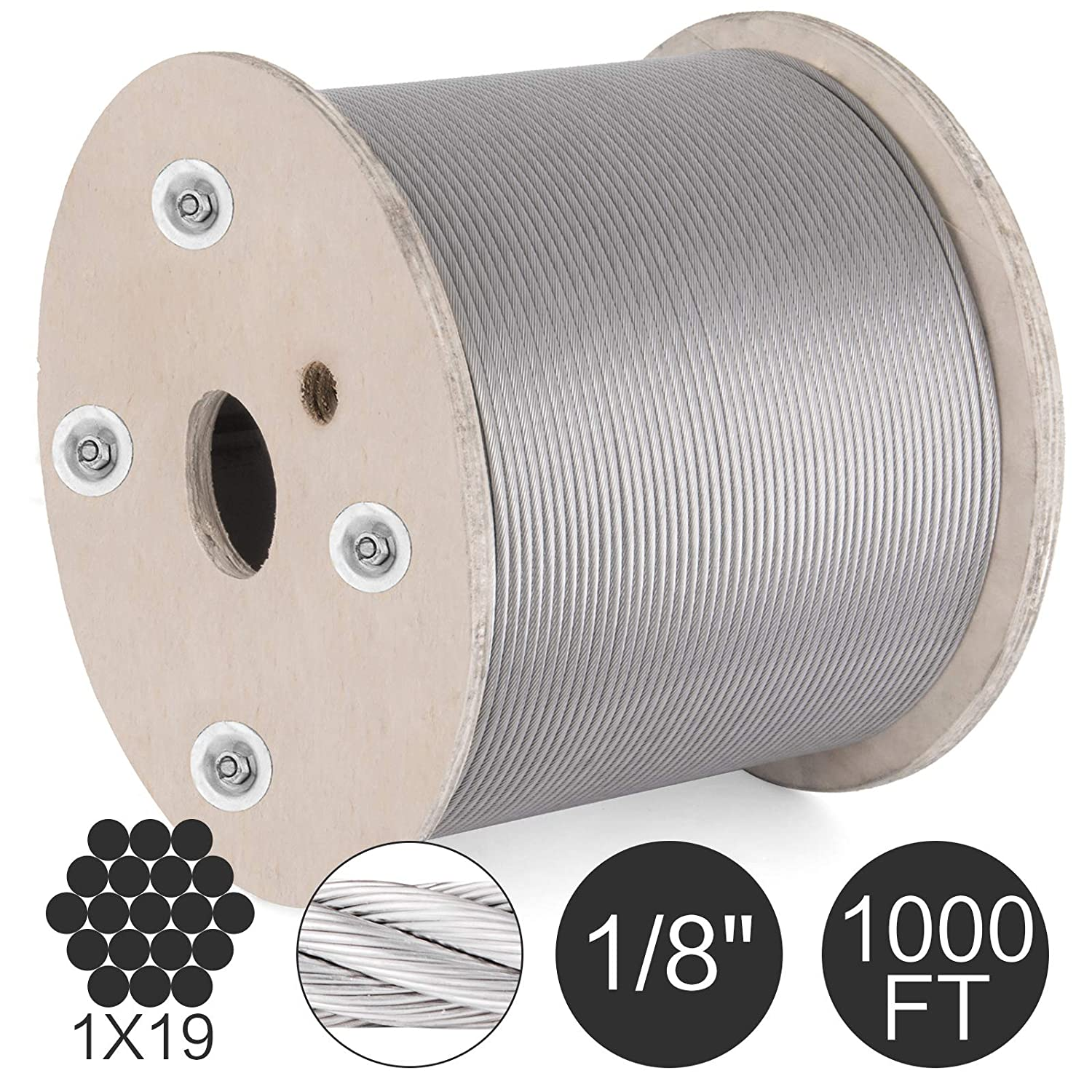 "1//8/"" Stainless Steel Cable Railing Wire Rope 1x19 Type 316 200 Feet"