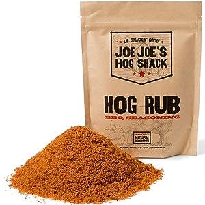 Joe Joe's Hog Shack Hog Rub - BBQ Dry Rub & Spice Seasoning - Great on Pulled Pork, Ribs, Chicken, Beef, Veggies & More - 100% Natural Ingredients (10oz.)