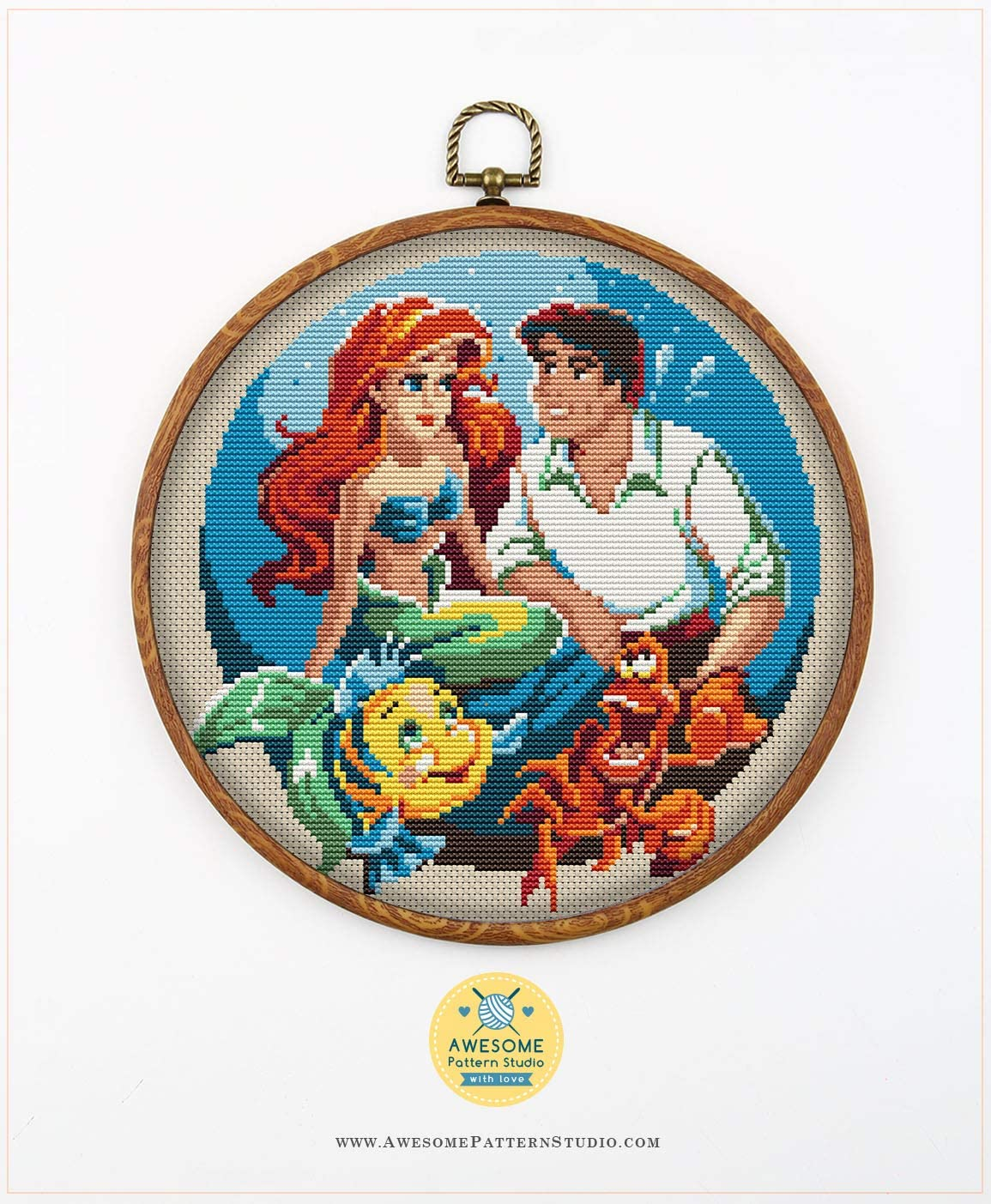 Needles Threads Fabrick and 4 Printed Color Schemes Inside Embroidery Pattern Kit The Little Mermaid K043 Counted Cross Stitch KIT#2