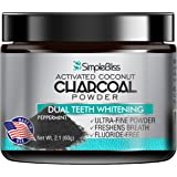 Teeth Whitening Activated Charcoal Powder 60g - 100% Natural, Safe & Effective Organic Coconut Tooth Whitener – Removes Stains Gently, Fluoride Free, Non-GMO, Made in USA - Peppermint