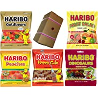 HARIBO 5 Variety Flavor Assortment in a specially designed Gift Box - Haribo Gold Bears, Fruit Salad, Peaches, Happy Cola, Dinosaurs - 5 individual candy packets in a box (Gold Bears-Fruit Salad-Peaches-Happy Cola-Dinosaur)