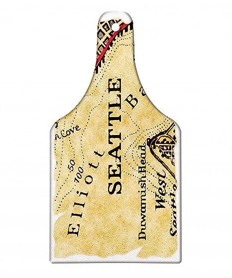 Amazon.com: Lunarable Seattle Cutting Board, Vintage Map of Elliot ...