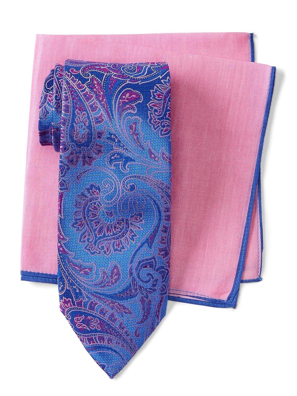 Ted Baker London Mens Lattice Paisley Silk Tie /& Pocket Square Set 3TC75102