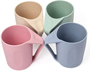 Euodia Wheat Straw Plastic Coffee Cups / Mugs with Handles (Sets for 4) - Dishwasher & Microwave Safe - Unbreakable / Nonbreakable, Lightweight, Eco-Friendly & BPA Free -Kids,Toddlers,Adults & Elderly
