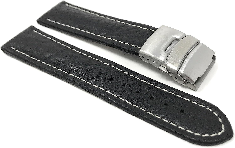 20mm 24mm Bracelet de Montre pour Hommes en Cuir véritable, Boucle déployante, Couture Blanche, Disponible en Marron, Noir et Brun Roux foncé