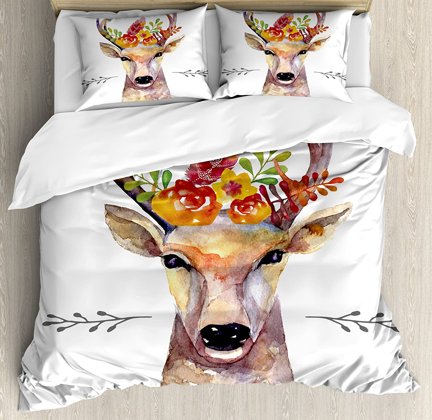 Ambesonne Indie Duvet Cover Set, Deer Portrait in Watercolor Painting Style Boho Flower Bouquet Hipster Rustic Artwork, Decorative 3 Piece Bedding Set with 2 Pillow Shams, Queen Size, White Orange