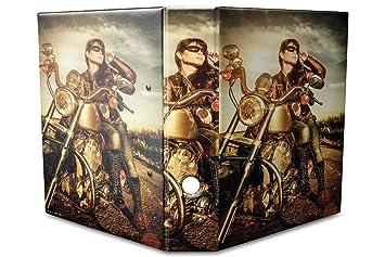 Leotie GmbH Archivador A4 Carpeta 2 Anillas 60mm Impreso Chica Biker: Amazon.es: Hogar
