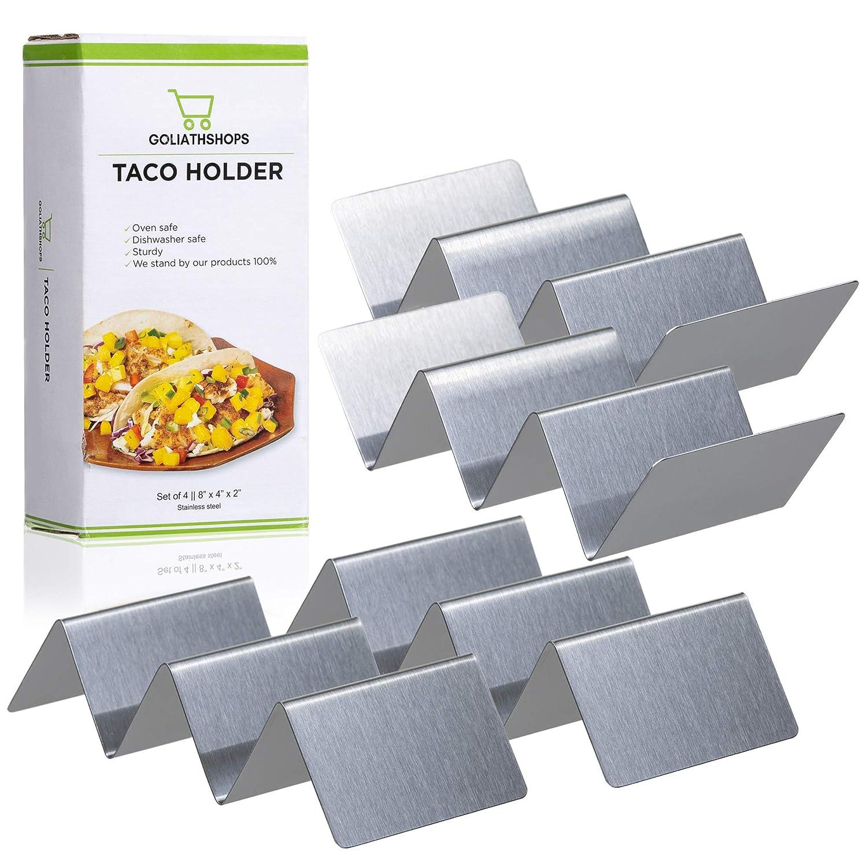 タコスホルダーラック ステンレススチール 4個セット   ステンレススチール製タコススタンドトレイ オーブンに最適   ソフトまたはハードタコス用   子供&大人フレンドリー   持ち運び可能 ハンズフリー 直立トレイ B07L2G2BRW