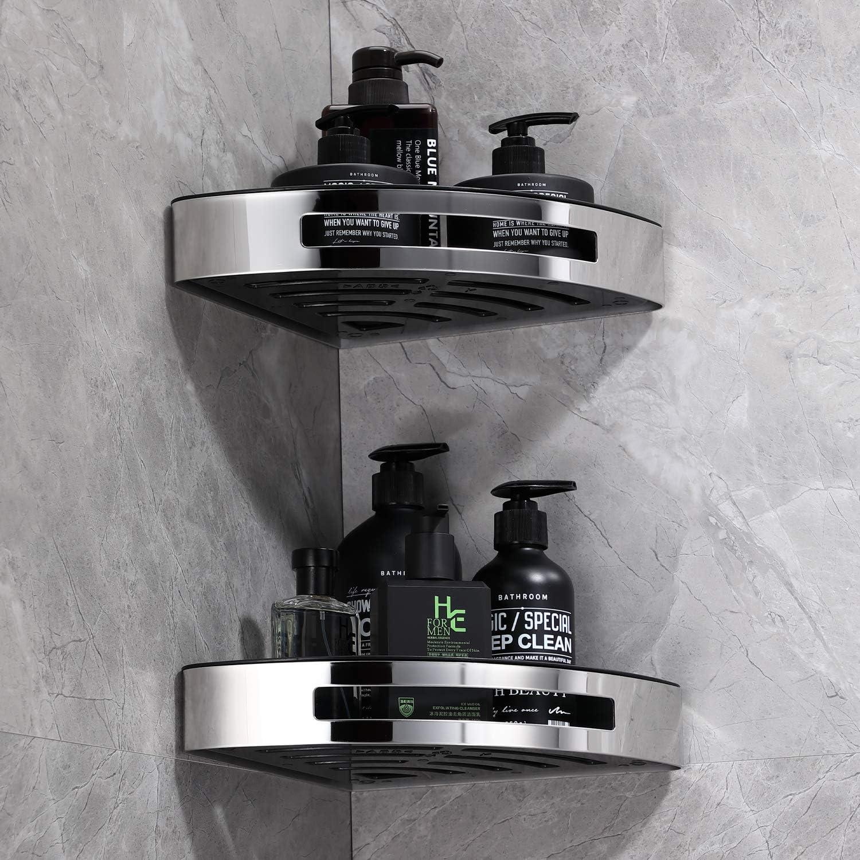 SimpleHome Ecki I 2er Set Badezimmer Eckregal ohne Bohren I Edelstahl I Geklebt oder geschraubt I Inklusive 4 Haken f/ür Waschlappen und Handt/ücher.