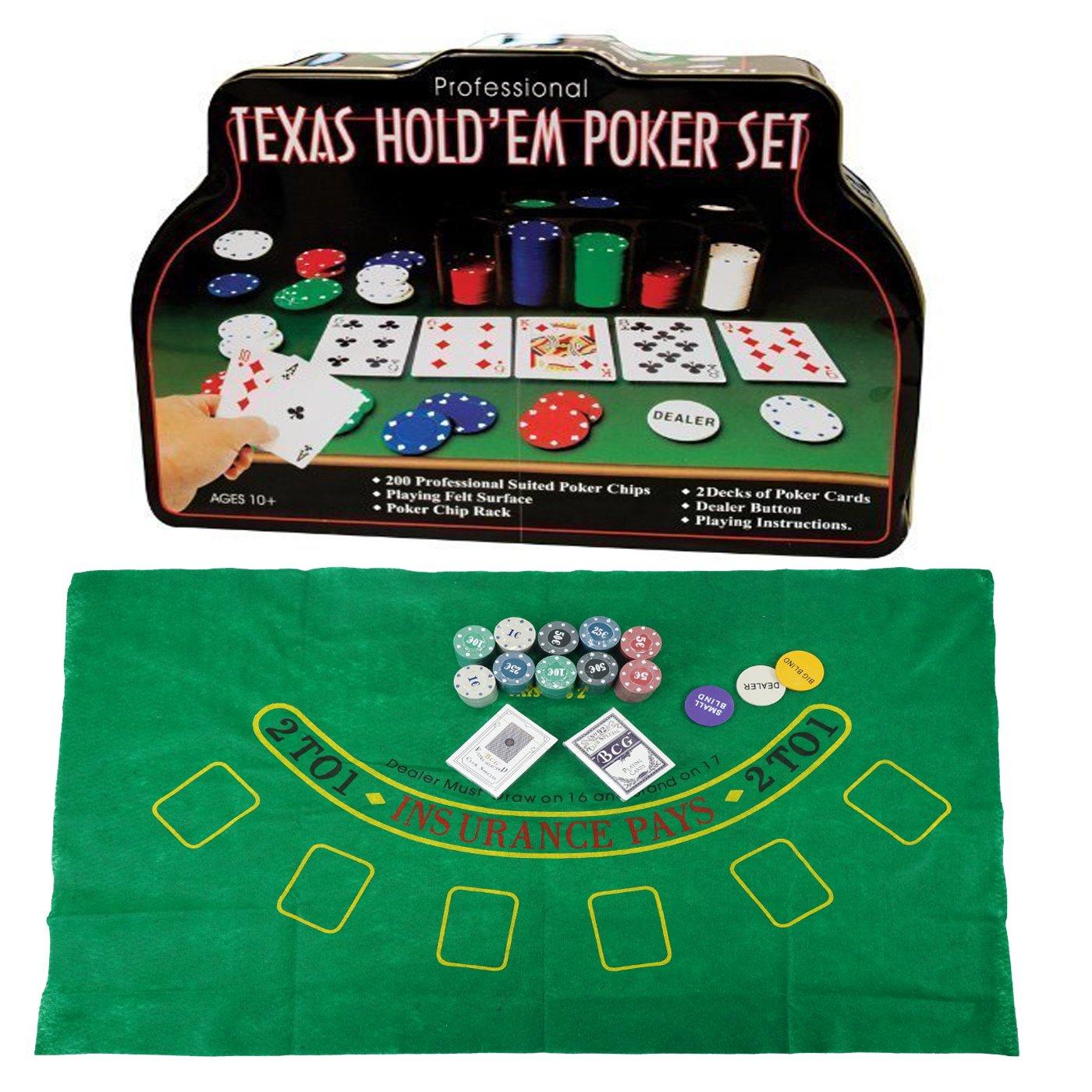 Professional Set de póker Caja de Metal, 200 fichas de póker, 2 Cubiertas, botón de repartidor, ciega pequeña, Gran ciega, tapete de Juego TODA MENAJE AL MAYOR S.L.U
