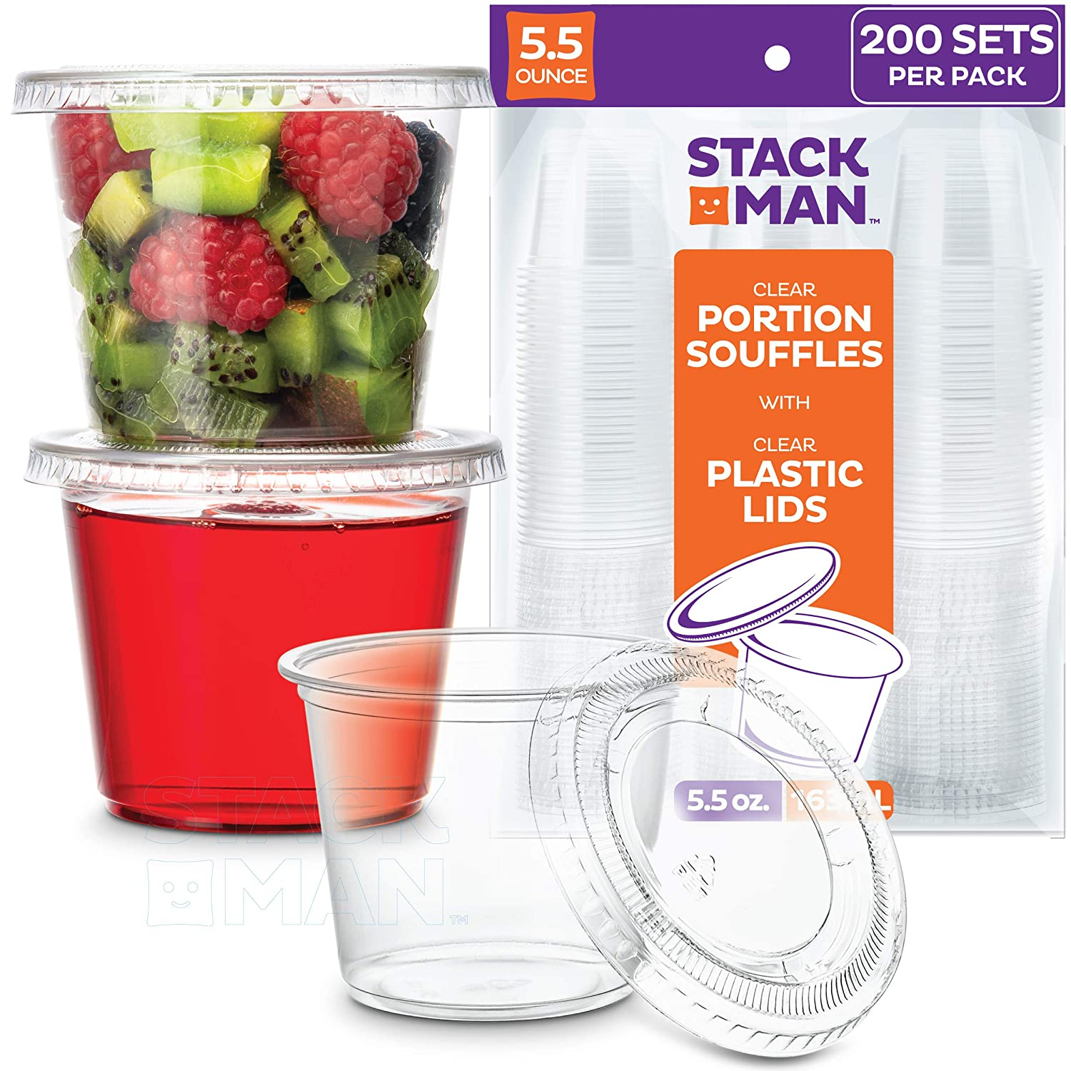 [200 Sets - 5.5 oz.] Plastic Cups with Lids, Clear Portion Cups, Disposable Snack Cups, Yogurt Cups, Parfait Cups, Pudding Cups, Souffle Cups, Dessert Cups, Disposable Containers with Lids 5.5oz.