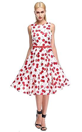 CRAVOG Damen Partykleid Sommer Kirsche Kleider mit Gürtel Cocktailkleid  Swing Abendkleid cd26e628da