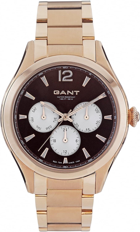 Gant Crawford–Reloj de Cuarzo para Mujer con Esfera analógica y Pulsera de Acero Inoxidable Chapado en Oro Rosa Color marrón w70574