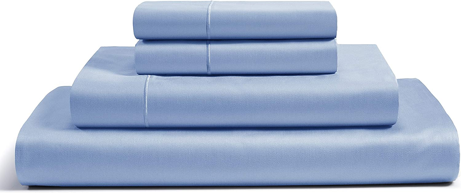 CHATEAU HOME COLLECTION 100% Egyptian Cotton Sheets Full Size, 800 Thread Count French Blue 4 Piece Sheet Set, Solid Sateen Weave, 16