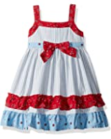 Blueberi Boulevard Baby Girls' Pique Floral and Stripe Sundress