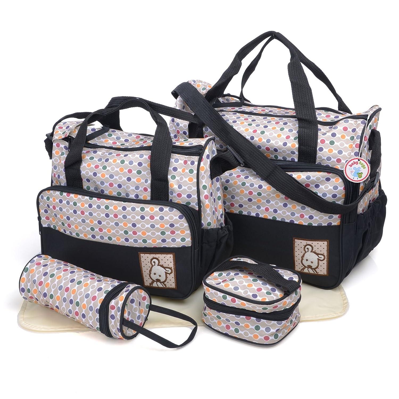 Babyhugs Set para maternidad con cambiador incluido, ideal para llevar las cosas al hospital, color negro con lunares de colores, pack de 5útiles diferentes Babyhugs-4520