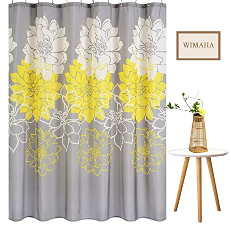 Wimaha Peony Flower Fabric Shower Curtain Mildew Resistant Waterproof  Standard Shower Bath Curtain For Bathroom Yellow