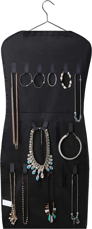 Jewellery Organiser 2-Sided Dress-Shaped 39 Pockets and 24 Loop closure