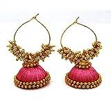 Pink Designed Shine Silk Thread Earring (F2)