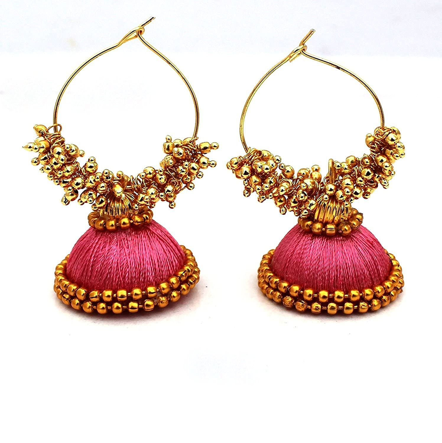 green combination chandbali thread earrings silk