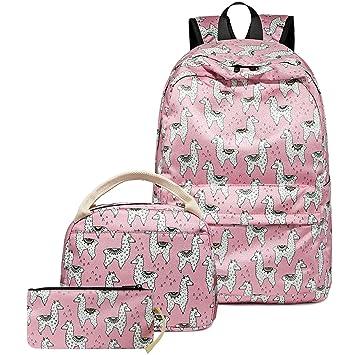 901273bf7614 CAMTOP Teens Backpack for School Girls Kids School Bookbag Set Travel  Daypack (Alpaca Pink)