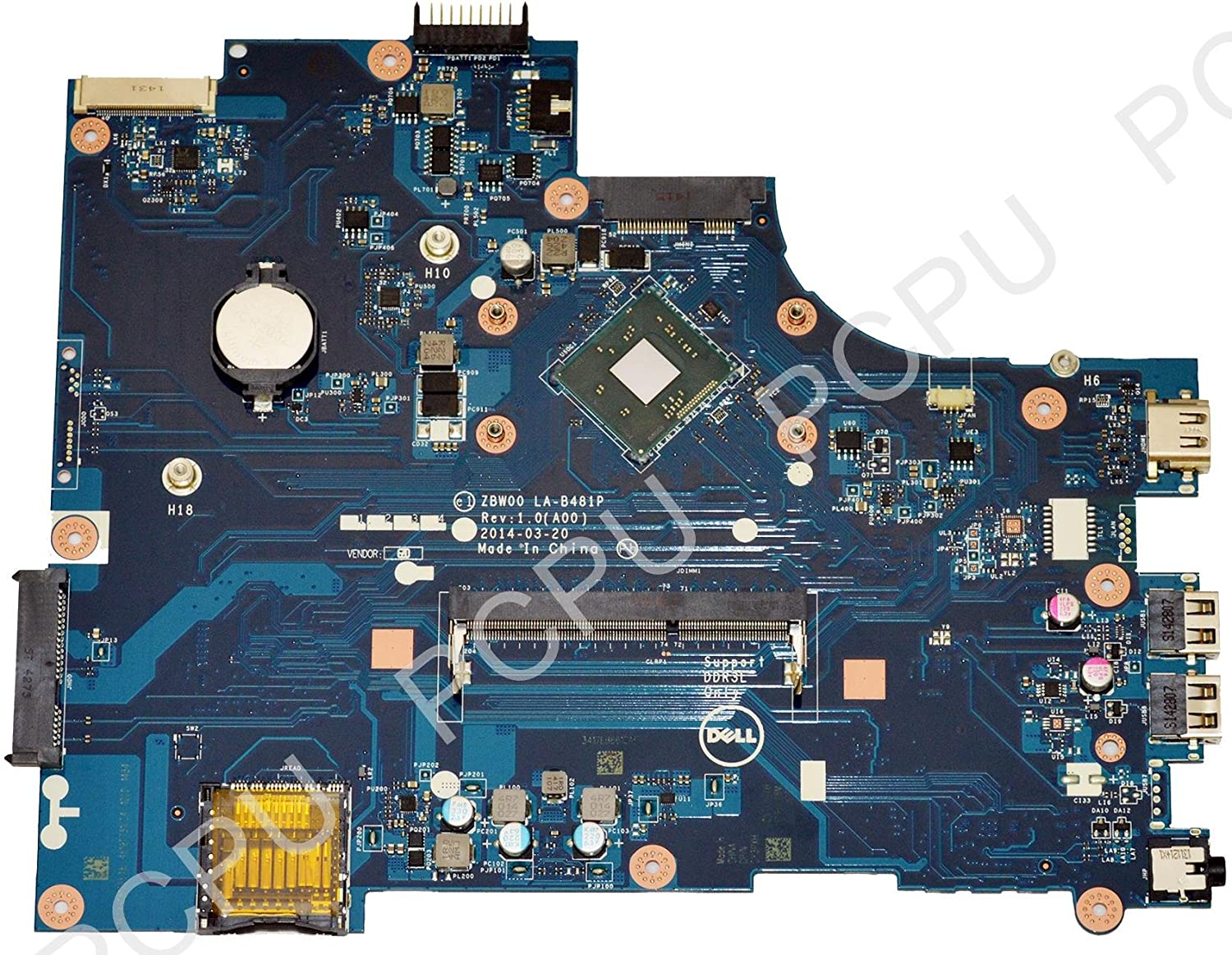 Y3PXH Dell Inspiron 15 3531 Laptop Motherboard w/ Intel Pentium N3530 2.16GHz CPU