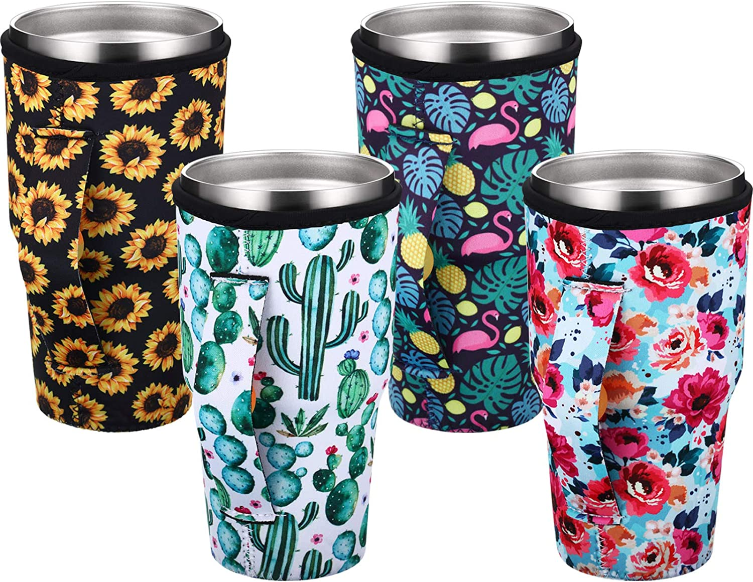 4 Pieces Coffee Cup Sleeve Reusable Neoprene Insulated Sleeves Cup Cover Holders Drinks Sleeve Holder for 30-32 oz Cold Hot Beverages, 4 Styles, Flower, Flamingo, Cactus, Sunflower