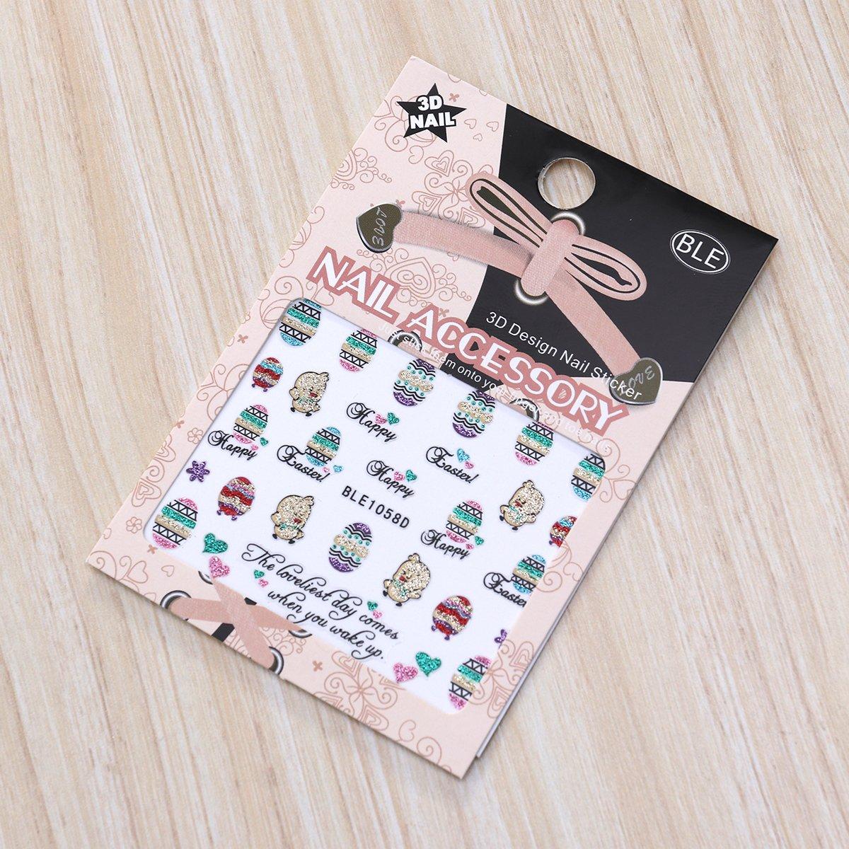 LUOEM Ostern Nagel Aufkleber Decals Osterei Huhn Nail Art Sticker ...