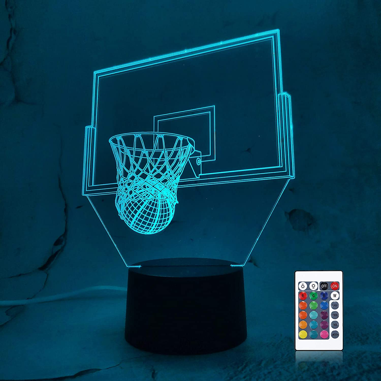 Olanstar Veilleuse illusion doptique 3D Boston Celtic Basketball D/écoration Jouet Lampe T/él/éphone T/él/écommande Lampe de table