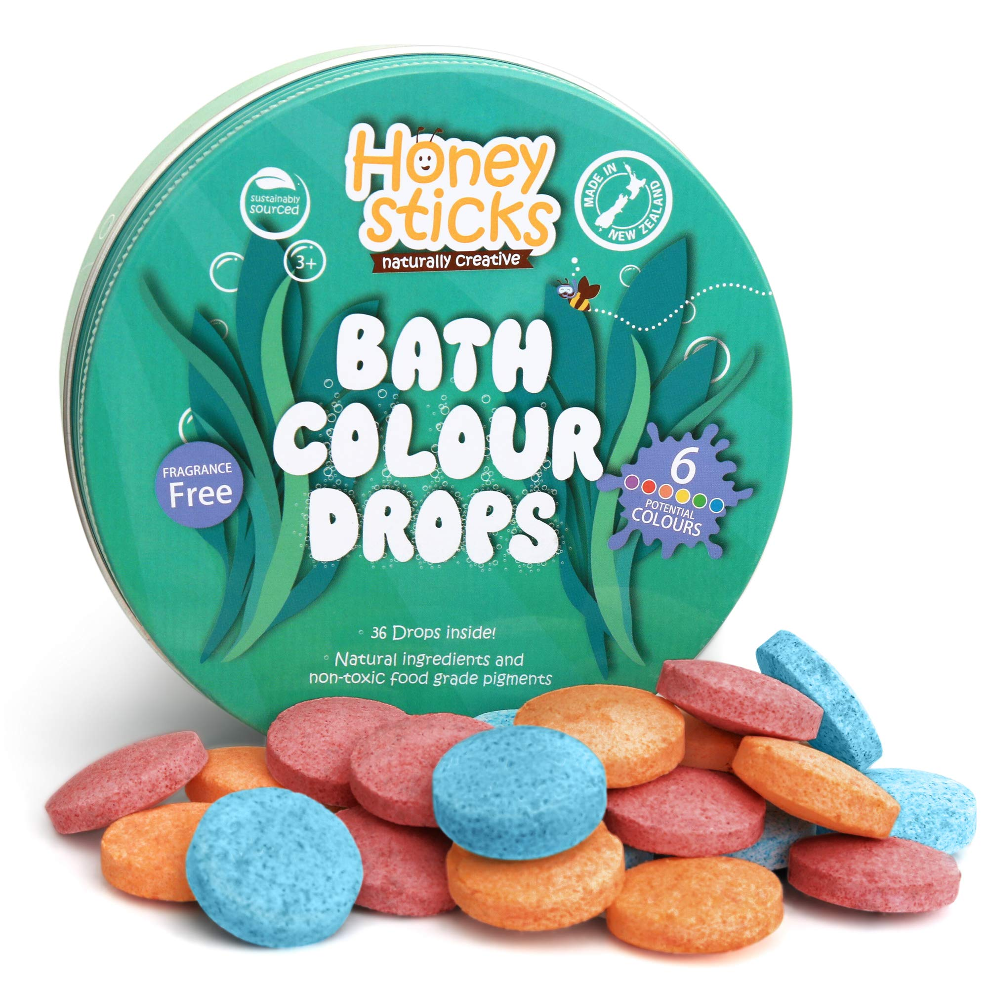 Honeysticks Bath Color Tablets for Kids - Non Toxic Bathtub Color Drops Made with Natural and Food Grade Ingredients - Fragrance Free - Fizzy, Brightly Colored Bathtime Fun, Great Gift Idea - 36 Drops