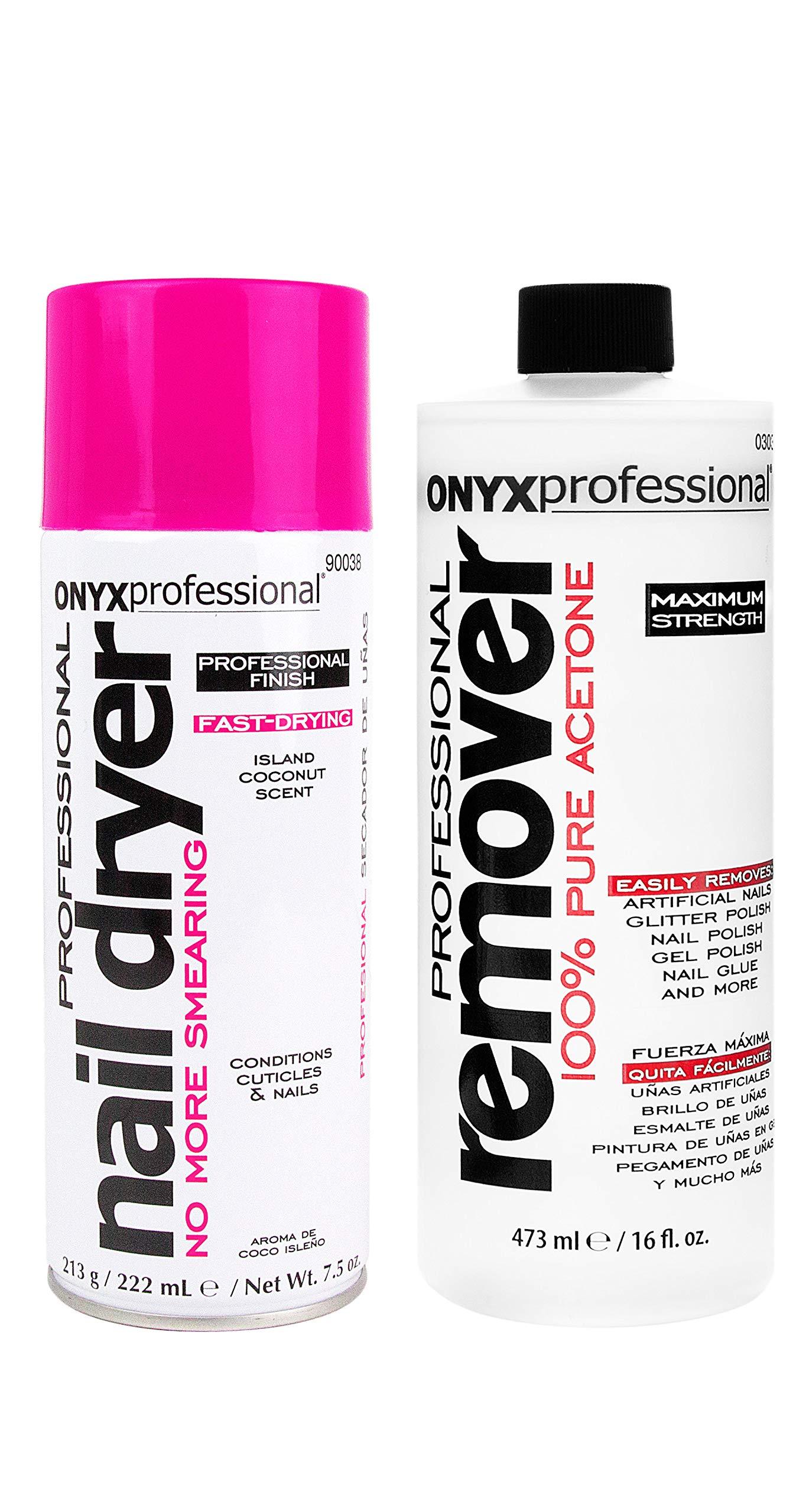 Onyx Professional 100% Acetone Nail Polish Remover 16oz & Nail Dryer 7.5oz, by Onyx Professional
