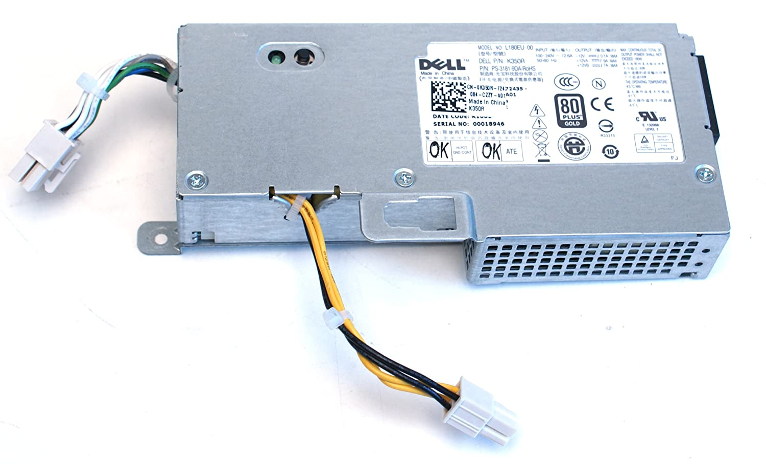 Amazon.com: Dell OptiPlex 780 USFF 180 Watt Power Supply (K350R ...