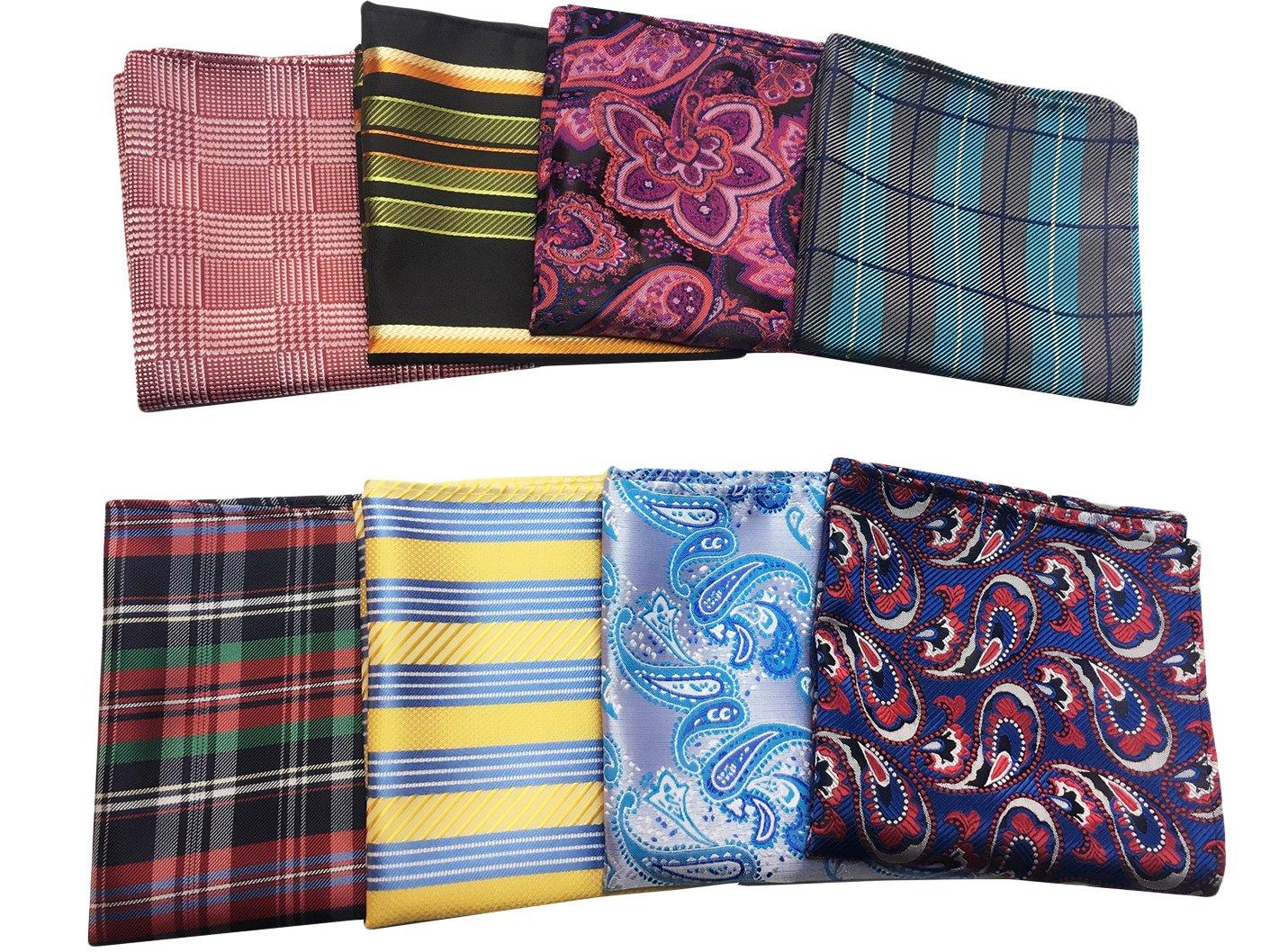 MENDENG Men's 8 Pack Mixed Paisley Floral Pocket Square Wedding Handkerchief ENG0784