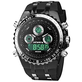 amazon com infantry waterproof black sports watch for men big infantry waterproof black sports watch for men big face military analog digital outdoor rubber strap