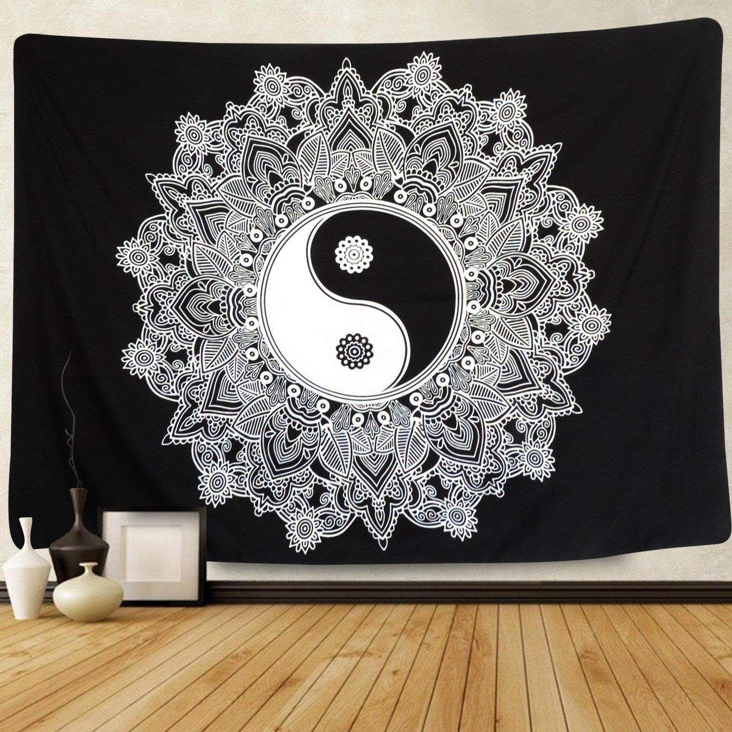 Sunm Boutique Black And White Tapestry Wall Hanging YinYang Tapestry Mandala Tapestry Indian Traditional Art Bohemian Wall Tapestry