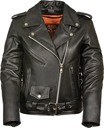 Black, Medium Milwaukee Womens Full Length Motorcycle Jacket with Side Lace