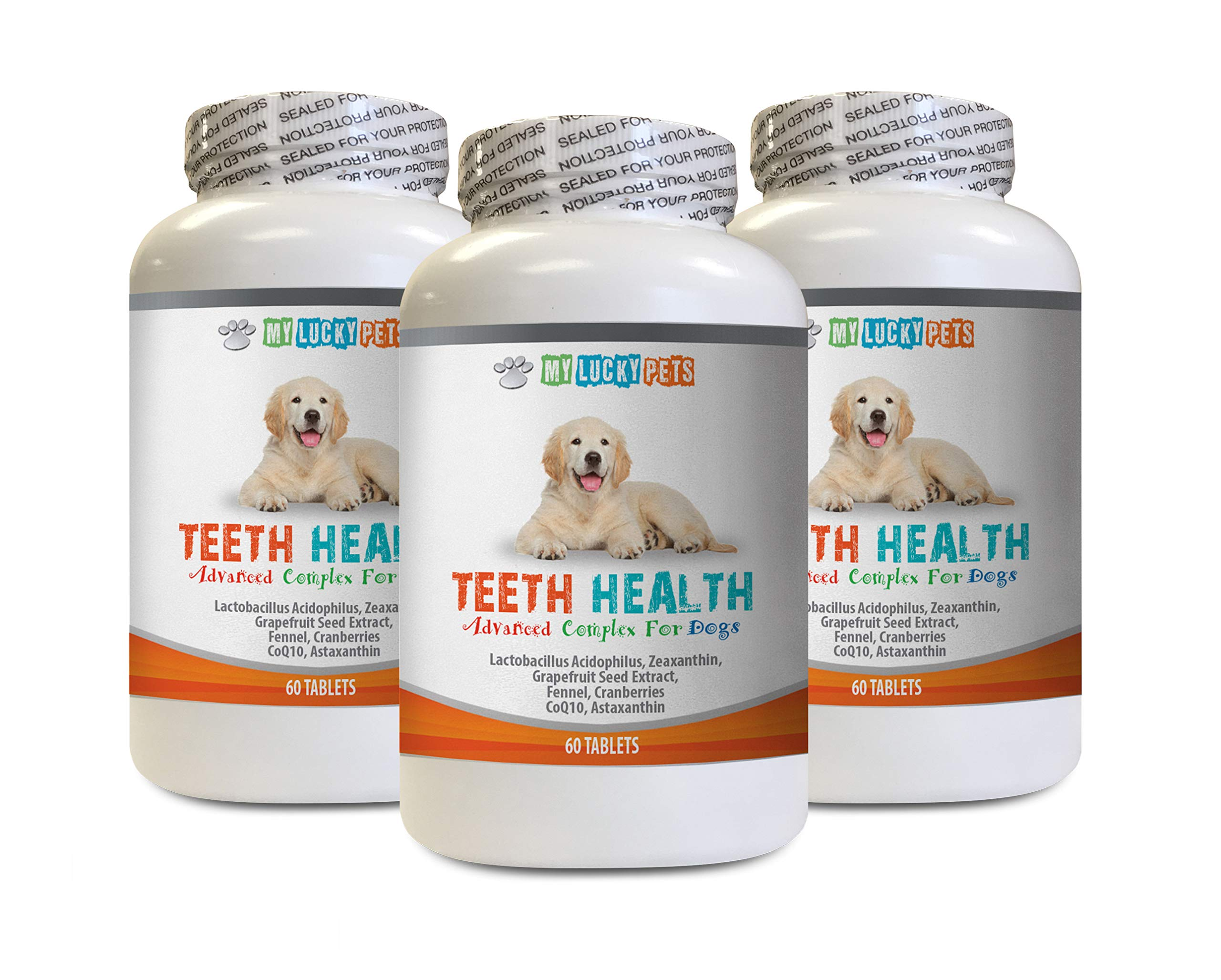 MY LUCKY PETS LLC Healthy Teeth for Dogs - Advanced Teeth Health for Dogs - Fights Bad Breath - Best Looking Gums and Teeth - Dog Vitamins Senior Chews - 180 Tablets (3 Bottles) by MY LUCKY PETS LLC