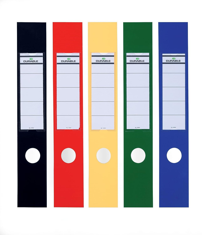 DURABLE 809000 - Ordofix, copridorso adesivo, personalizzabile, per raccoglitori larghi 70 mm, 60x390 mm, assortiti, confezione da 10 pezzi
