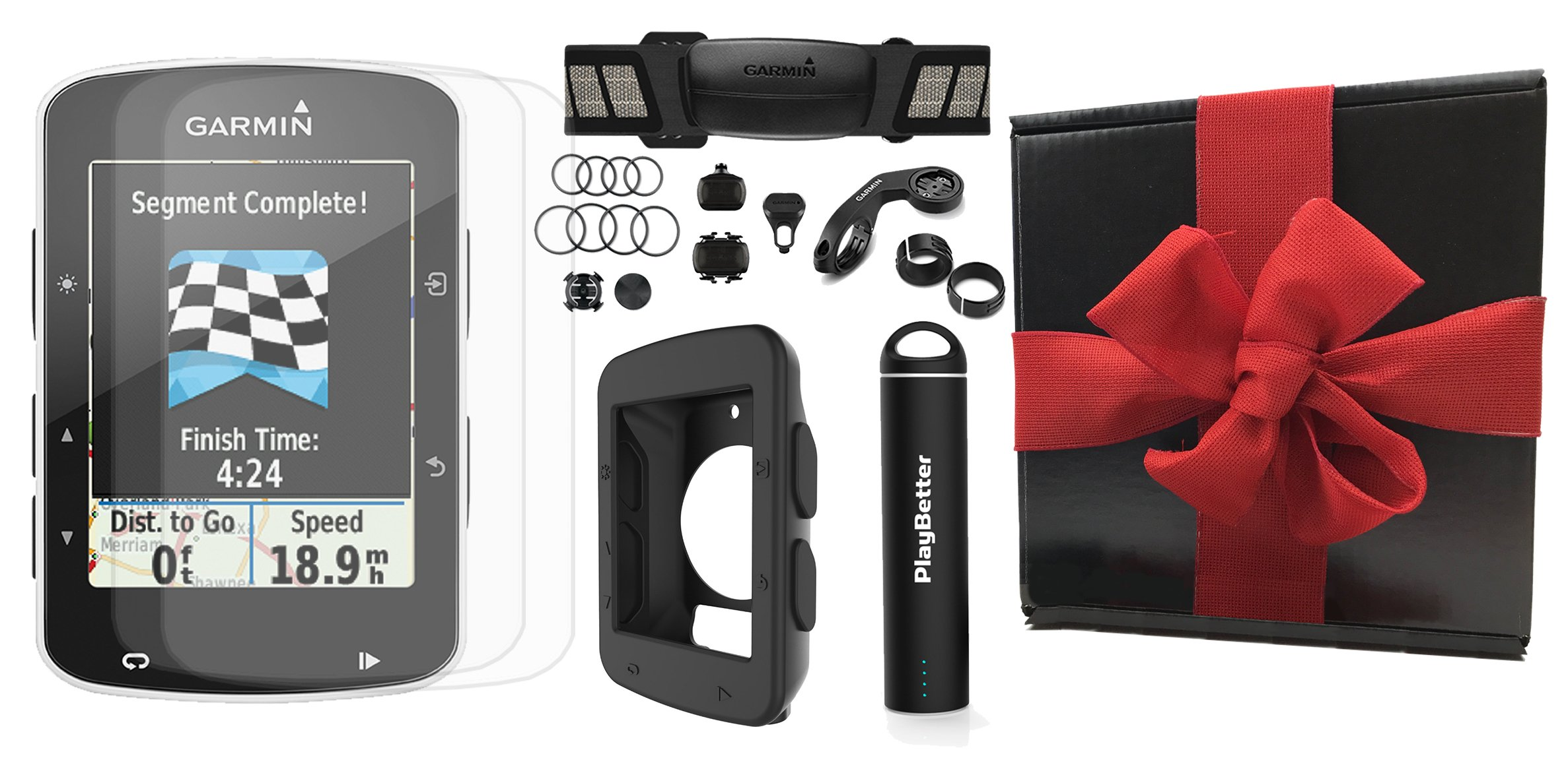Garmin Edge 520 Gift Box Bundle | with PlayBetter Silicone Case, Portable Charger & HD Screen Protectors | Bike Mounts | GPS Bike Computer (+Chest HRM +Speed/Cadence Sensors, Black Case, Gift Box)