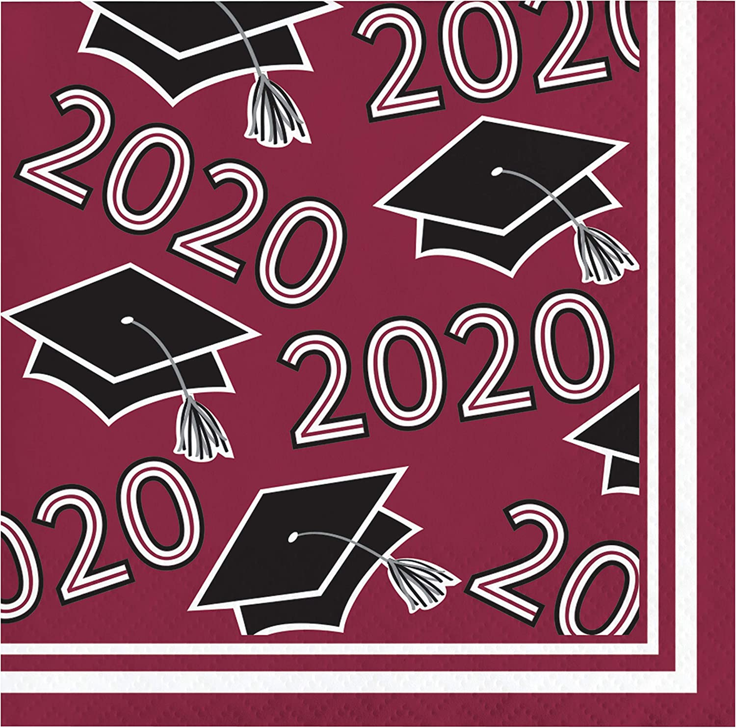 Creative Converting Class of 2020 Burgundy Grad Beverage Napkins, 5