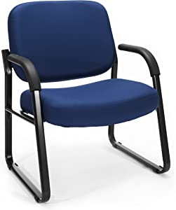 OFM Core Collection Big and Tall Guest and Reception Chair with Arms, in Navy