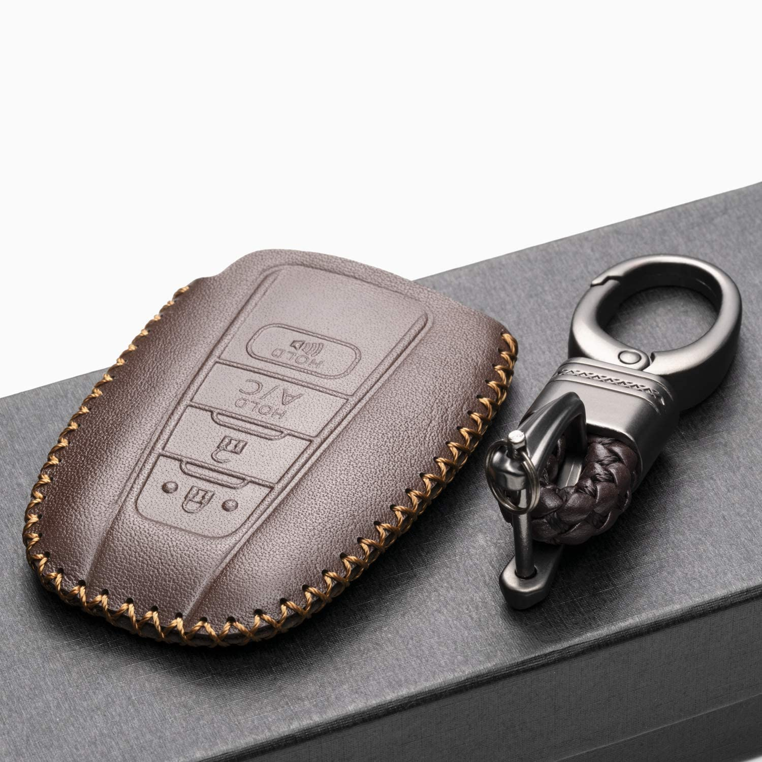 Avalon C-HR Camry 4 Buttons, Red Vitodeco Genuine Leather Remote Key Fob Case Cover Protector with Key Chain for 2019 Toyota Corolla Hatchback Prius