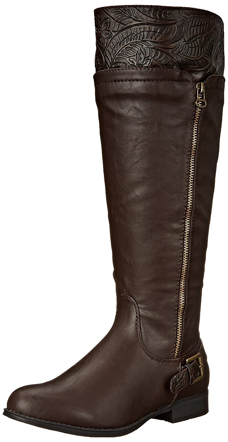 Easy Street Women's Burke Riding Boot B00ZFUL1TY 9 N US|Brown/Tooling/Gore