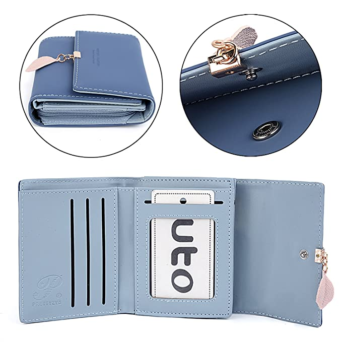 UTO Femme Portefeuille Porte-Monnaie Feuille Exquis Pendentif en PU Cuir Bien Organisation avec 6 emplacements de Carte 1 fen/être didentification Bleu