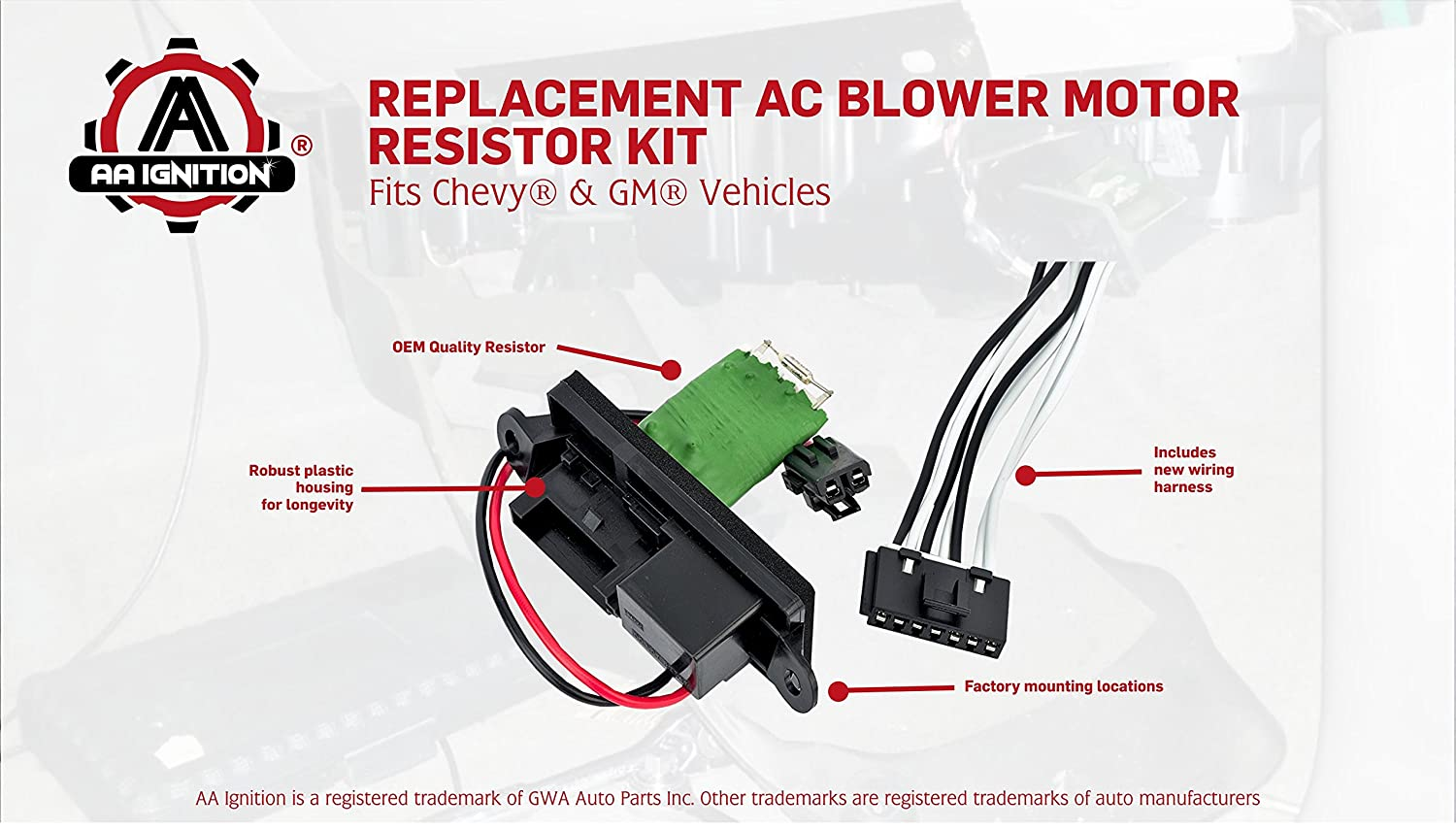 Hvac Blower Motor Fan Resistor Kit With Harness Auto Wiring Replacement Replaces 22807122 15305077 973 409 Fits Cadillac Escalade Chevy Avalanche Silverado